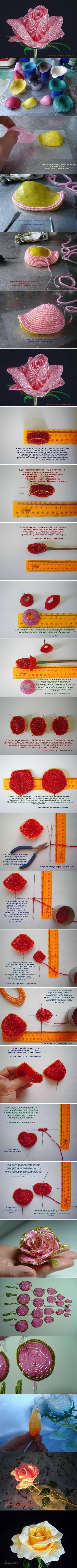 схема плетения бисером розы