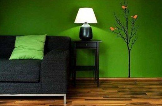 Сочетается черного и зелёного в интерьере