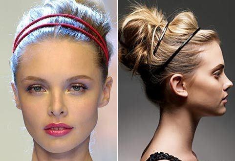Пучок с ободками для волос средней длины