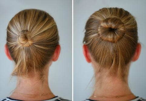 Простой пучок на волосах средней длины