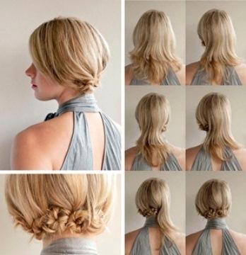 Как сделать пучок из жгутиков для волос средней длины?