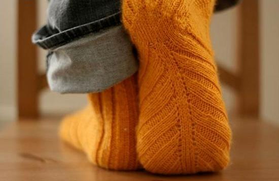 вязание пятки носка спицами Ls