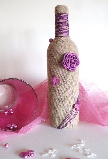 Ваза бутылка своими руками нитки