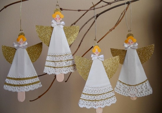 Ангелочки из бумаги с золотыми крылышками