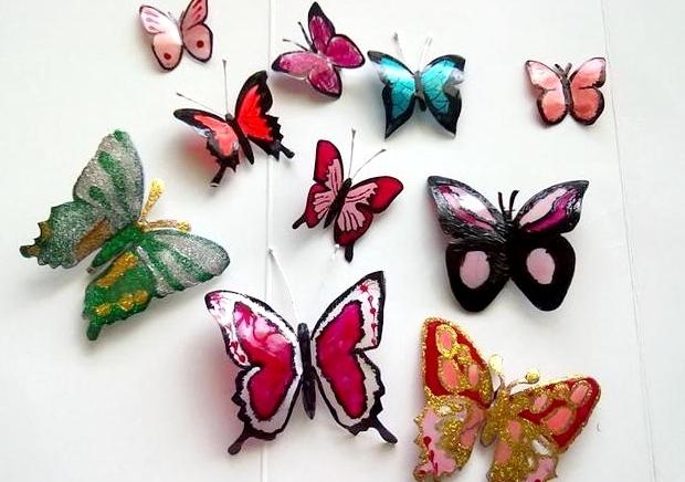 Красочные бабочки из пластиковых бутылок своими руками