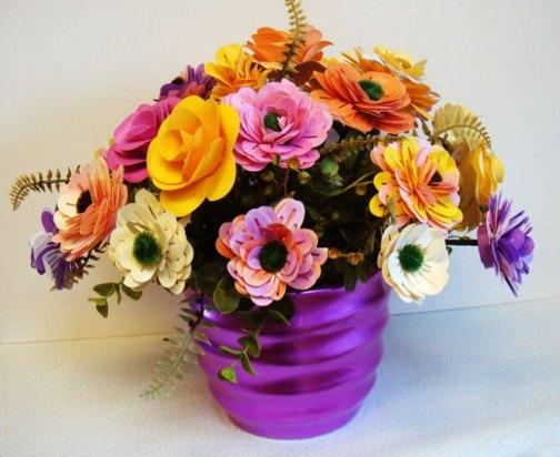 Цветочки в горшочке из пенопласта своими руками