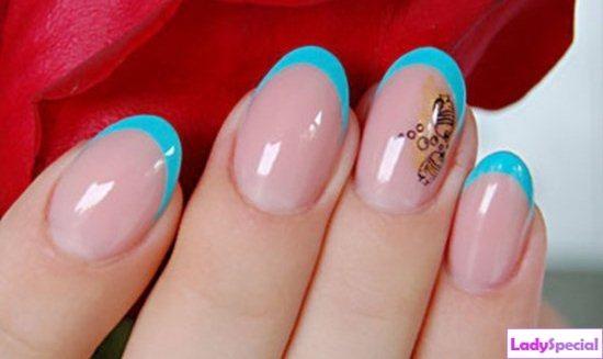 Дизайн ногтей синие с желтым фото
