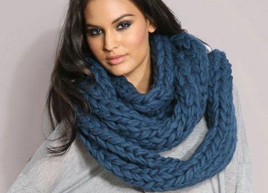 вязание шарфа хомута спицами Ls