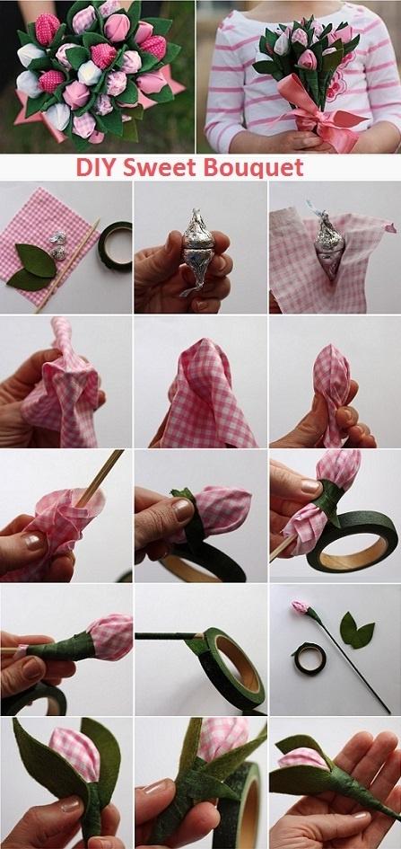 Цветок с конфетой своими руками пошаговое фото 86