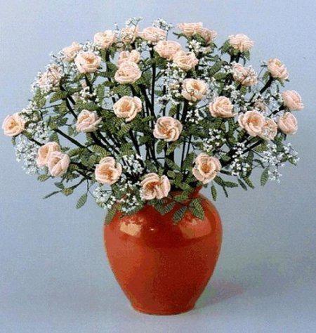 Простые цветы из бисера фото