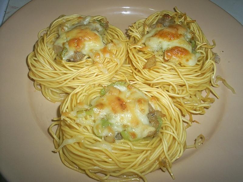 Гнезда из макарон с курицей в духовке рецепт пошагово 23