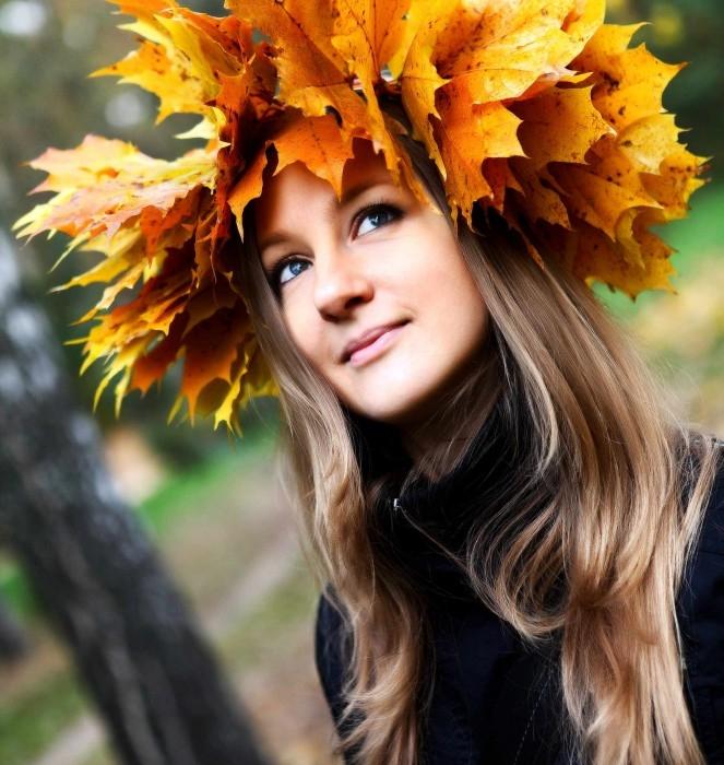 Зонт девушка осень