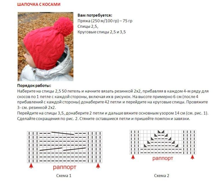 Вязание на спицах шапочка для ребенка 286
