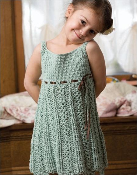 вязание платья крючком схемы и описание вязания платья для девочек Ls