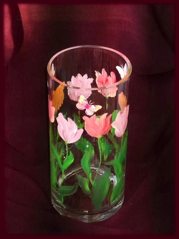 Роспись вазы акриловыми красками