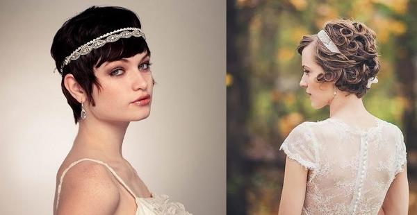 Прически на свадьбу для коротких волос без фаты