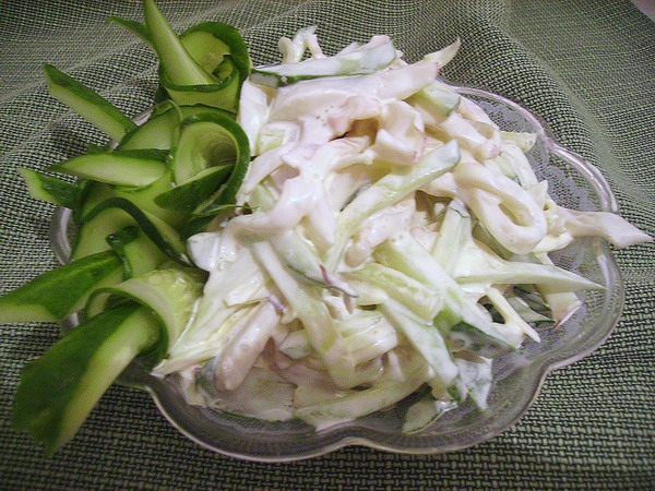 Рецепт салат кальмары с яйцом