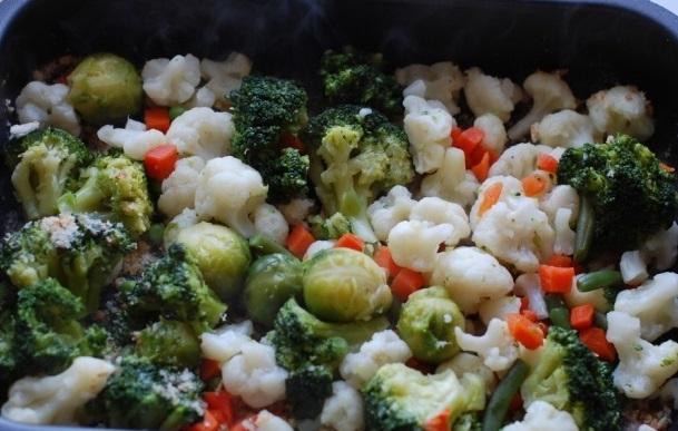 Отварные замороженные овощи