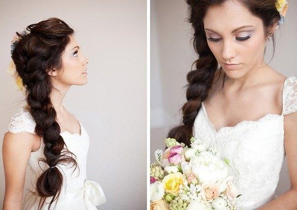 Прическа на свадьбу своими руками на длинный волос