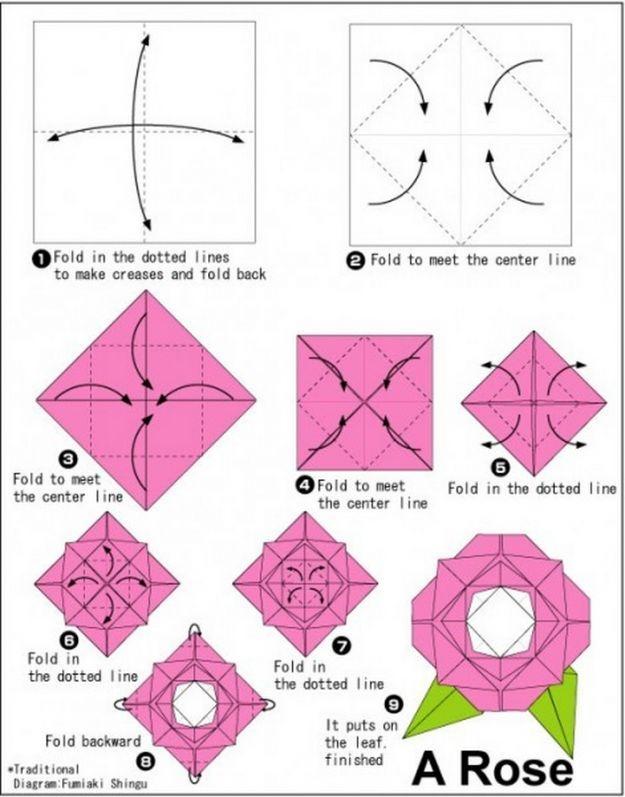 Как сделать в оригами розу
