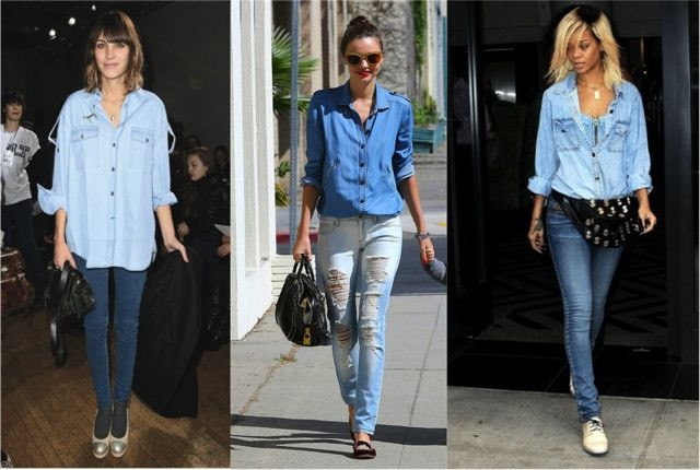 ec38d53ce606 С чем носить джинсовую рубашку  Модные образы с денимом на каждый ...