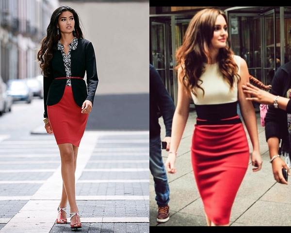 Синяя кофта и красная юбка