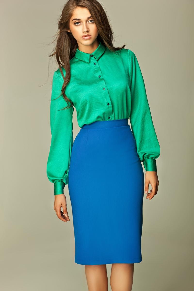 С чем носить синюю юбку?
