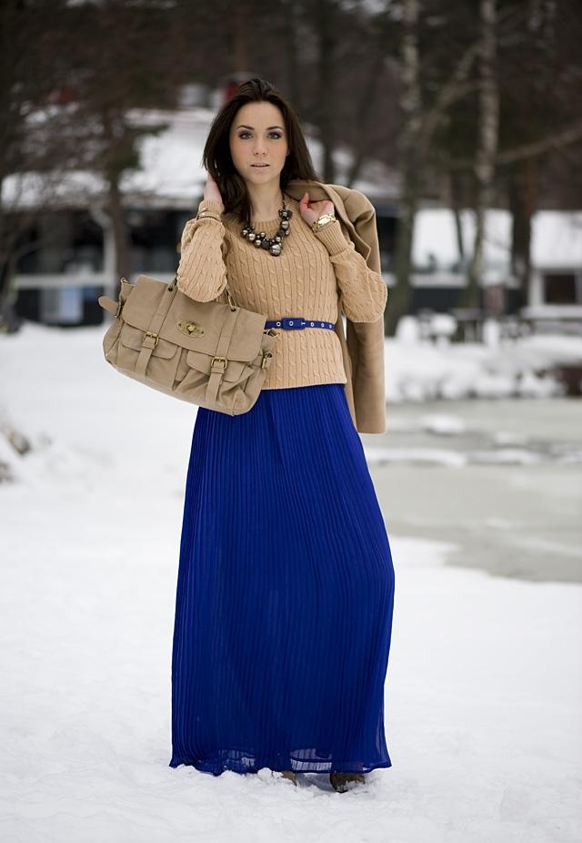 Синяя юбка в пол фото