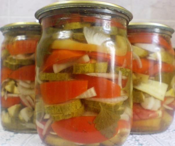 Салат из огурцов и помидор на зиму рецепты с