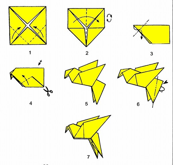 Как сделать голубя оригами поэтапно