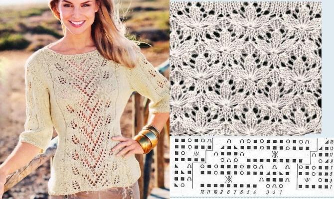 Вязание женских пуловеров спицами из тонких ниток 18