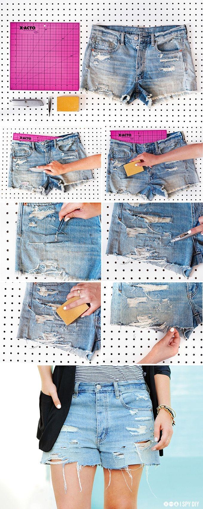 Как из джинс сделать шорты рваные своими руками 100