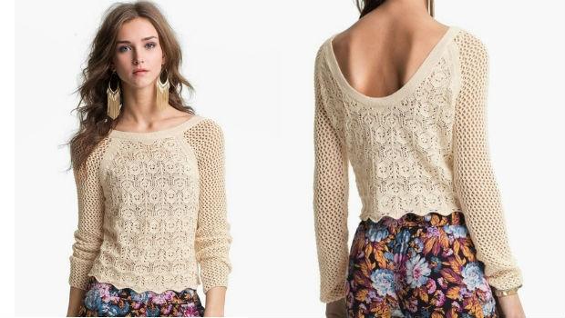 Пуловер женский спицами