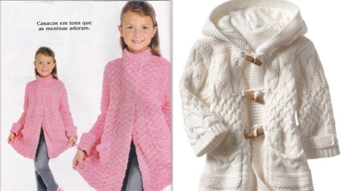 Вязание спицами пальто для девочки 3 года схема 821