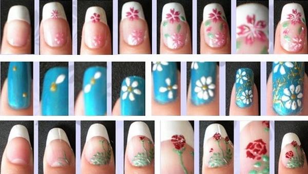 Рисуем на ногтях цветы пошагово