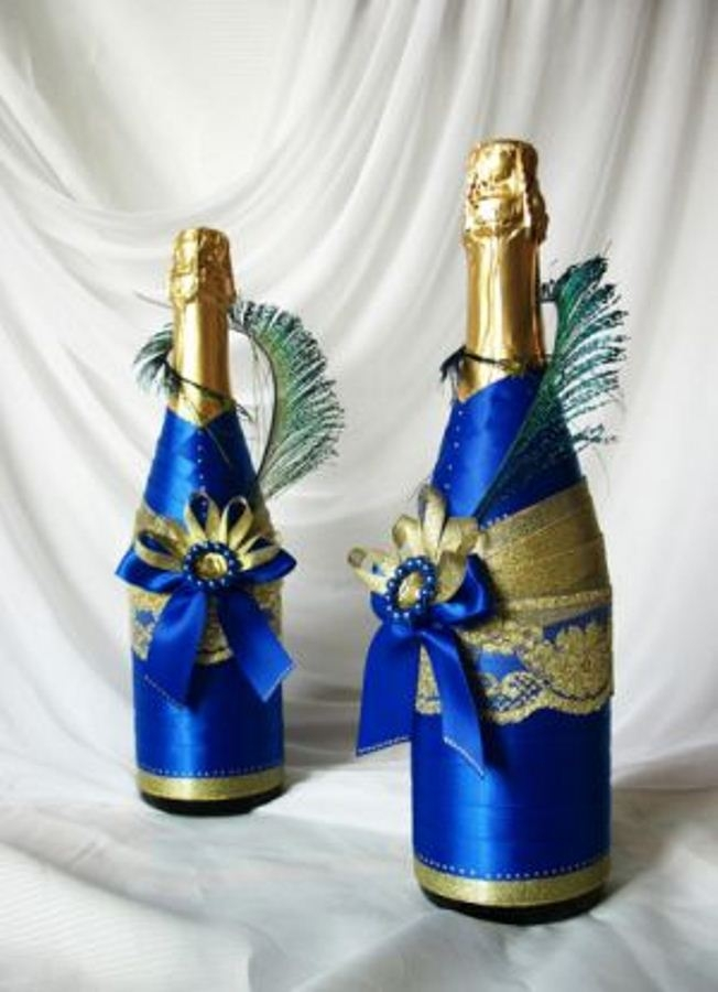 Свадебный дизайн бутылок своими руками