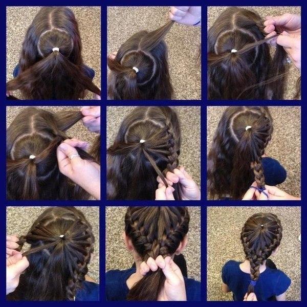 Плетение на волосах корзинки