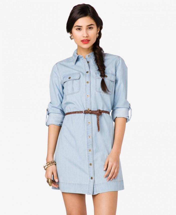 Джинсовое платье рубашка своими руками фото