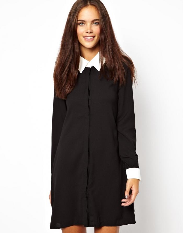 черное платье рубашка с белым воротничком