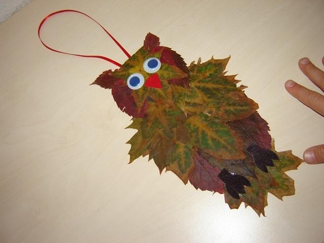Сделать сову из листьев своими руками 135