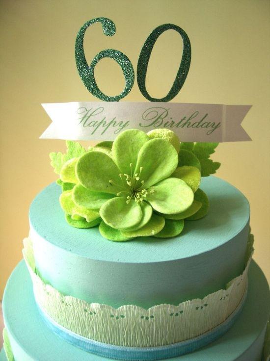 Торт с пожеланиями из бумаги на 60 лет