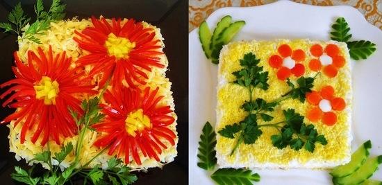 Украшения салатов с фото и инструкциями