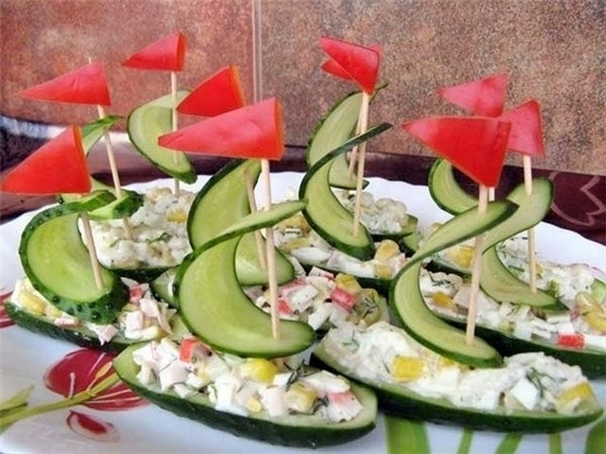 Украшения салатов из овощей