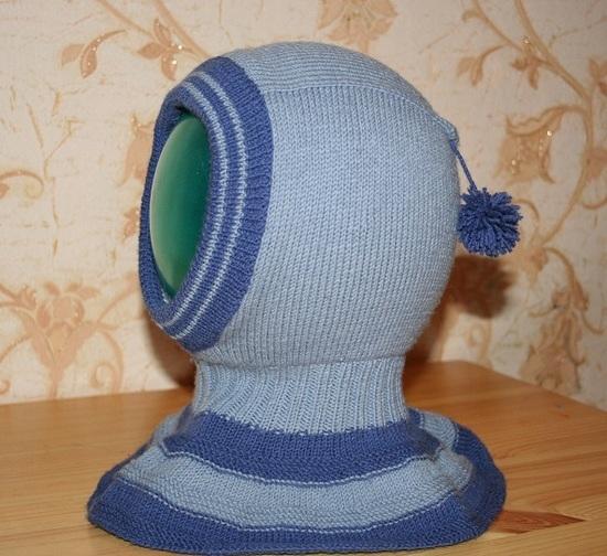 Двойная шапка шлем: способ вязания