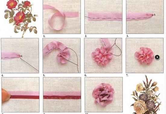 Вышивка лентами: розы