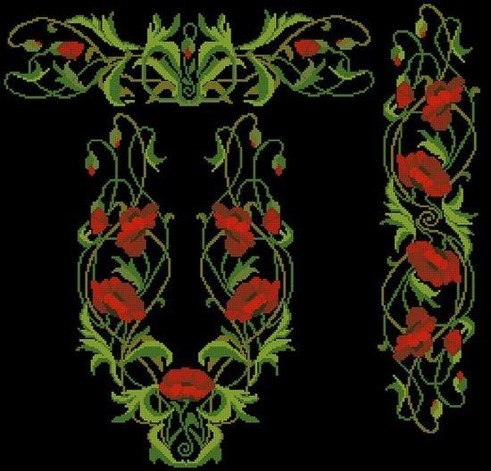 Вышивка крестом: маки на черной канве