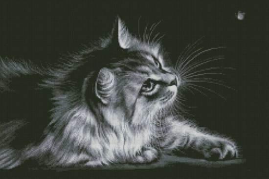 Монохромная вышивка крестом кот