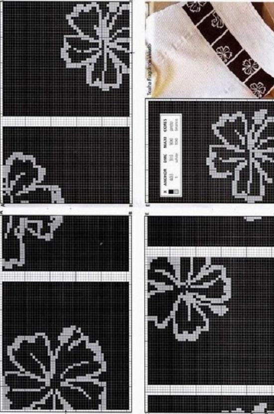 Монохромная вышивка крестом: цветок