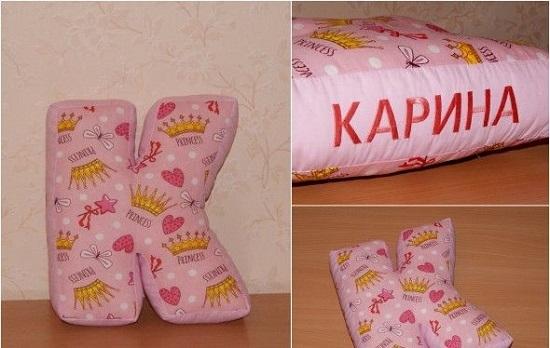 Как сшить подушки с именем своими руками