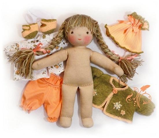 Создание прически для тряпичной куклы